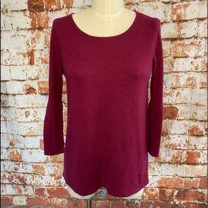 LOFT 3/4 bell sleeve pink Italian yarn sweater m